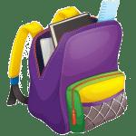 Paarse schooltas met schoolspullen