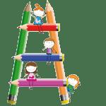 Figuren op een ladder van potloden